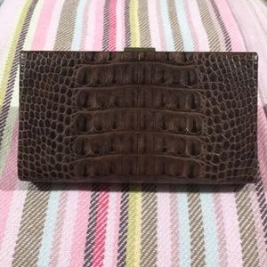 Brown Alligator Embossed Leather Clutch